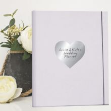 Same Sex Couple A4 Wedding Planner/Organiser featuring Personalised Silver Metallic Heart
